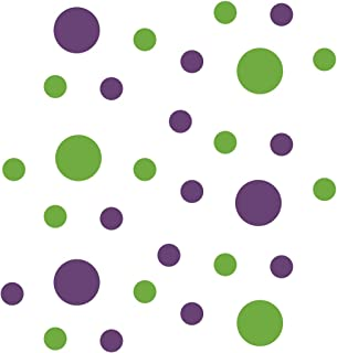 Lime Green/Purple Vinyl Wall Stickers - 2 & 4 inch Circles (30 Decals)