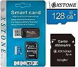 XSTONE - Tarjeta de memoria Micro SD y TF de 128 GB con adaptador y lector de tarjetas de memoria para teléfono, MP3, GPS, tableta, PC y cámaras de fotos