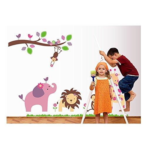 Cuenta con adhesivo de las habitaciones en la pared de la etiqueta engomada/de pared/pegatinas/pegatinas de pared de vinilo para niños/niños pequeños de/Saüglinge habitaciones con de peluche, diseño de jirafa, de León, diseño de mono y el árbol de Navidad de rama de diseños en muchos coloures de VAGA