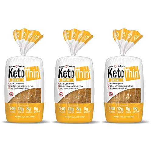 Julian Bakery Keto Thin Bread | 100% Keto | Gluten-Free | Grain-Free | Low Carb | 0 Net Carbs | 3 Pack