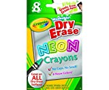 Crayola; Dry-Erase Neon Crayons; Art Tools; 8 Count; Washable; Perfect for Classroom Art Activities; Includes Sharpener and Erase Cloth