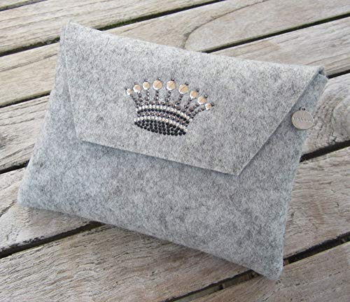 zigbaxx Filz Tasche Clutch Mäppchen CROWN 1 für Kosmetik Stifte Diabetiker-Besteck-Zubehör Accessoires, Woll-Filz mit Krone aus Strass & Studs, grau schwarz pink beige braun, Weihnachtsgeschenk Frauen