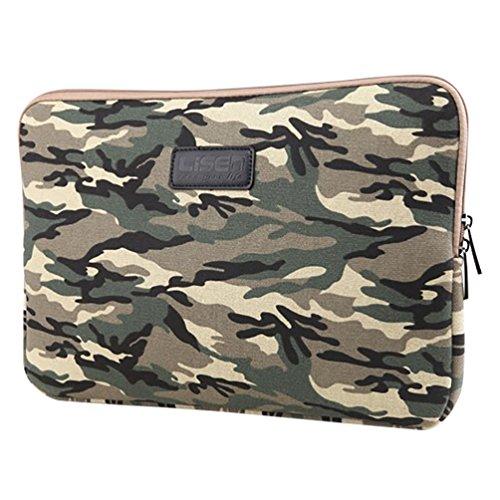 Baymate Unisex Canvas Laptop Sleeve Camouflage Pattern Style Bag 13 Inch MCArmyGreen