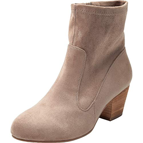 Women's Wide Width Ankle Boots, Chunky Block Mid Heel Boots for Ladies, Slip On Side Zipper Boots for Girls, Cozy Comfortable Casual Shoes.(180704,Grey,10W)