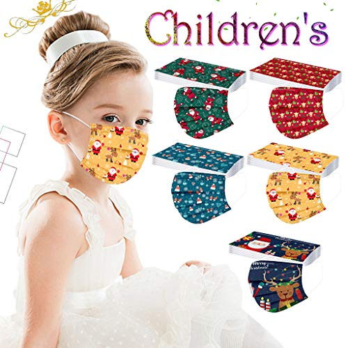 10/30/50 /100 PCS Christmas Disposable Face_Mask for Kids Face Bandanas Cute Print Mouth Covering 17 Colors ,Children's 3 Ply Non-Woven Lightweight Breathable Protection School Supplie Balaclava
