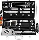 ROMANTICIST 21pc BBQ Grill Accessories Set with Thermometer - The Very Best Grill Gift on Birthday...
