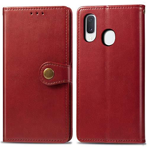 Hangmao HH-Estuche de teléfono Retro Color sólido Hebilla de Cuero Protección de teléfono móvil Funda de Cuero con Lanyard & Foto Frame & Tarjeta Slot & Wallet Función para Galaxy A20E (Brown)