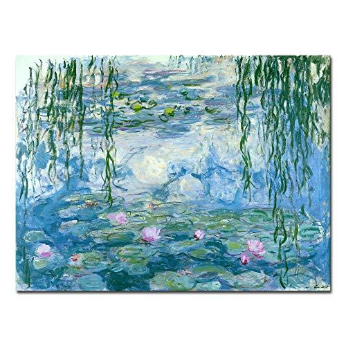 Wieco Art, Seerosen von Claude Monet, Ölgemälde-Reproduktion, moderne Giclée-Leinwand, Landschaftsbilder gedruckt auf Leinwand, MON0023-3040
