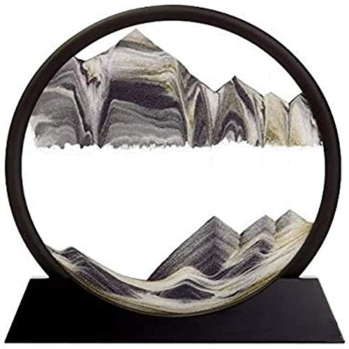 Flowing Sand Painting, Dynamic 3D Natural Landscape Flowing Sand Picture Round Glass Sand Frame for Home Ornament (7inch)