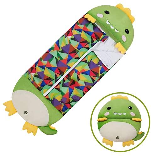 Aujelly Saco de dormir cálido para niñas con almohada de dinosaurios de animal, dibujos animados, para niños y niñas