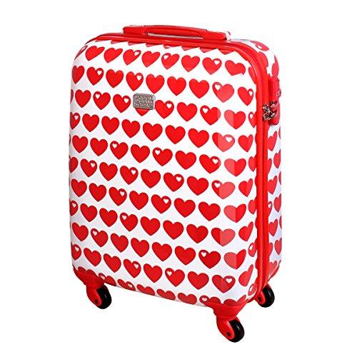 Hartschalen Reise Koffer Trolley Bordgepäck Kurzurlaub Handgepäck 30 Liter Herz Rot 820