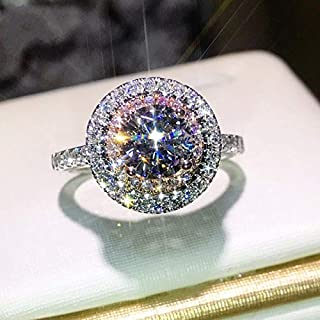 Ravewan Shop 3.0CT White Sapphire Wedding Engagement Ring 925 Silver Jewelry Women Men Sz6-10 (6)