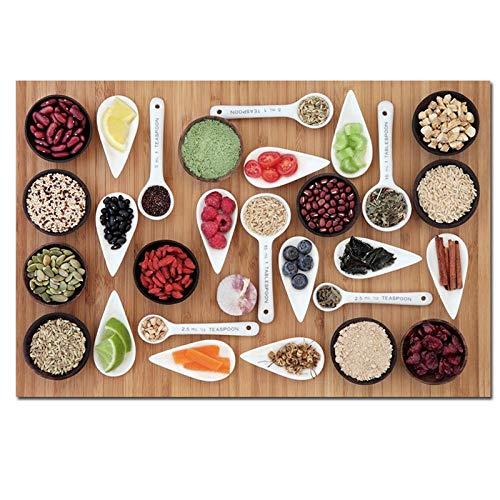 Terilizi Modern stilleven schilderij kleur kruiden groente canvas kunst kruiden zaden foto's keuken eetkamer decoratie poster 60x90cm geen lijst