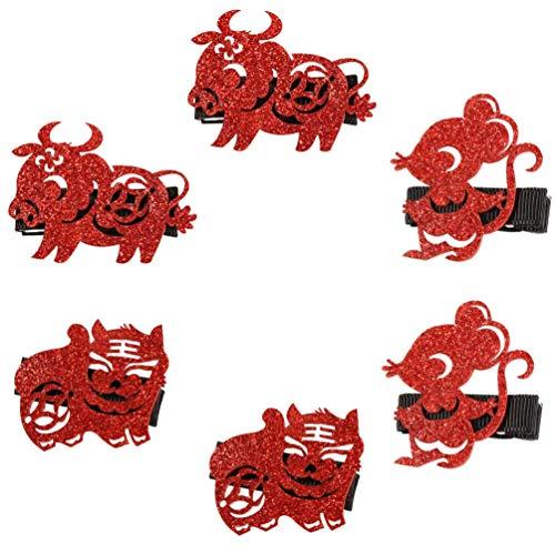 6 piezas de pinzas para el cabello de ao nuevo chino con purpurina, ao del zodiaco de buey, rata, tigre, horquilla, tocado, diademas para el ao 2021, accesorio para disfraz de ao nuevo, rojo