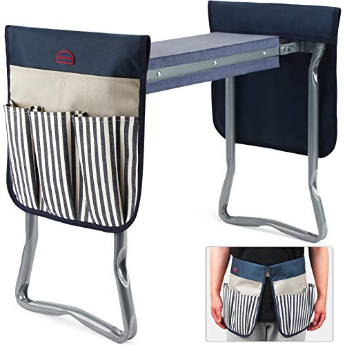 Garden Kneeler Stool Seat Foldable Garden Bench with Tools Bag Gardening Workseats with Thicken Soft EVA Foam Pad for Outdoor Portable Kneeler Stool with Garden Apron Bags for Women amp Man Navy