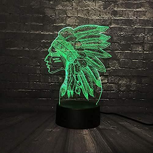 3D LED Lámparas de ilusión óptica Luz de noche Estilo indio Chica Pluma Lava Decoración Interruptor RGB Cambio de color USB Juguete para niños Nuevo 7 colores Cambiar