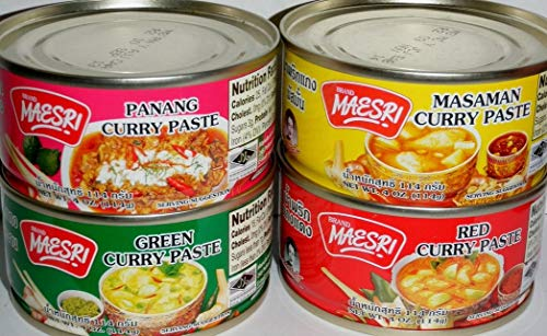 Variety Curry Paste 4pk Green, Red, Masaman, & Panang Curry (2 Pack)