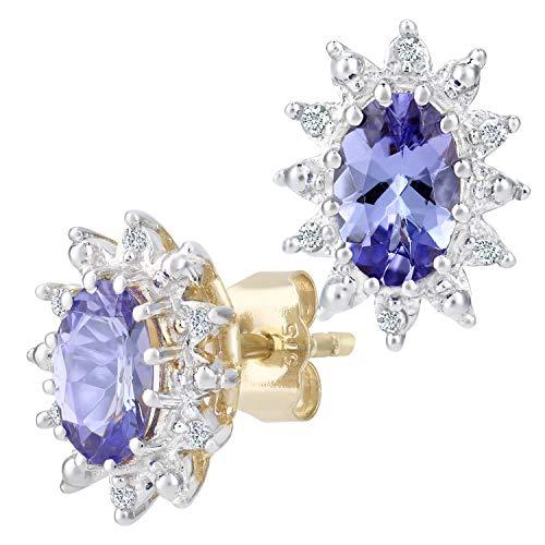 Naava Damen-Ohrstecker 375 Diamant 0,05 ct BlauViolett Rundschliff PE01535Y/Tanz