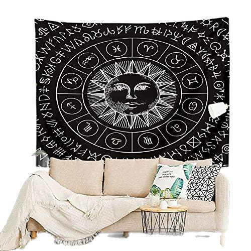 KHKJ Tapiz de Mandala en Blanco y Negro, cabecero de Pared, Colcha de Arte, Tapiz de Dormitorio para Sala de Estar, Dormitorio, decoración del hogar, A1 150x130cm