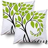 Nature - Juego de 2 fundas de almohada cuadradas decorativas para sofá, dormitorio, 45,7 x 45,7 cm