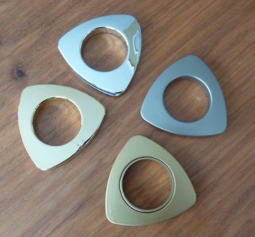 Kunststoffösen, Gardine, Stoffösen 20 Stück dreieckig, versch. Fb und Größen (chrom matt, Durchmesser 36)