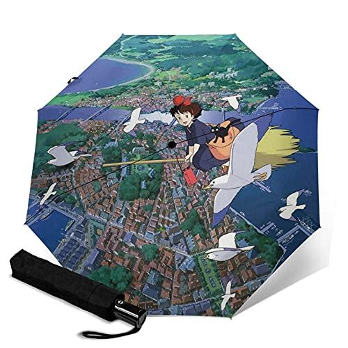Anime Kiki's Delivery Service paraguas plegable automático portátil para mujeres y hombres reforzado a prueba de viento marco impermeable y resistente a los rayos UV
