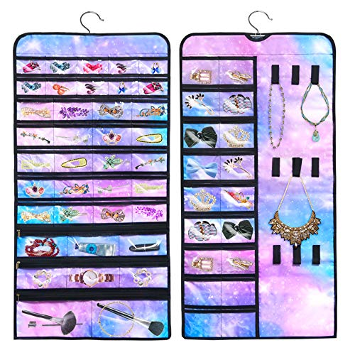 Sylfairy Hanging Jewelry Organizer, Double Sided 56 Pockets and 9 Hook and Loops for Jewelry Organizer, Necklace Holder Jewelry Chain Organizer for Earrings Necklace Bracelet Ring with Hanger