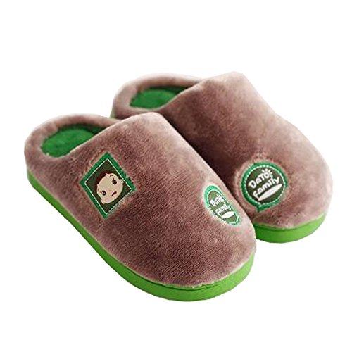 Famille d'hiver et chaleureux Chaussures Indoor Maison Enfant Slipper, Gris