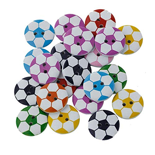 Fanuse 100 Pezzi Bottoni da Cucire in Legno a Forma di Pallone da Calcio con 2 Fori arrotondati per Artigianato