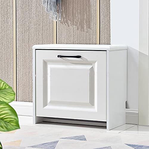 WWWFZS Zapatero Ligero de Lujo Ultrafino Cubo abatible Blanco Entrada para el hogar Almacenamiento Estrecho Taburete para Cambiar Zapatos pequeña casa Moderna(Color:60CM2)