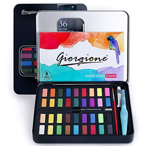 Vagalbox Pintura de Acuarela, con 36 Colores, se combina con lápiz de carbón, Pincel de Acuarela y…