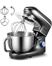 Staande Mixers, CHeflee 1500W Elektrische Keukenmachine-Mixer Keukenrobot voor Bakken, met 5,5L Roestvrijstalen Mengkom, Deeghaak, Klopper, Garde