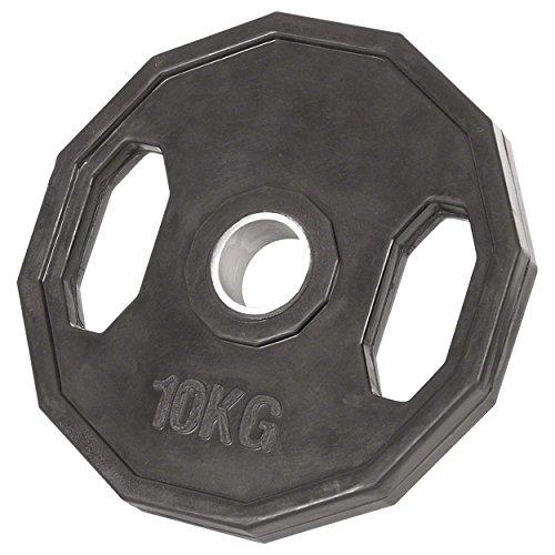 Sport-Tec Olympia Hantelscheibe mit Gummüberzug und Griff, Gewichte, 1x Stück: 10 kg