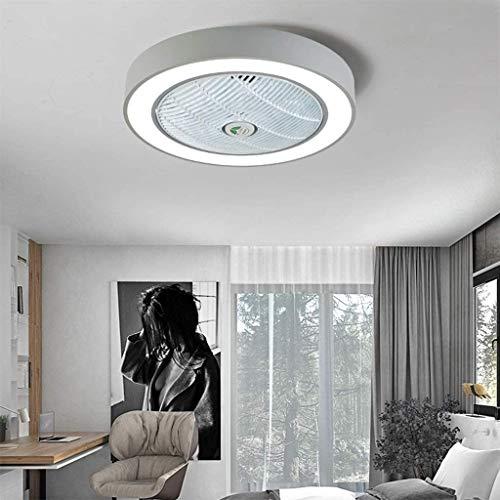 J&Z Ventilatore da Soffitto Luce Ventilatore A Soffitto Plafoniera Luce Creativa LED Dimmer Ventilatore con Controllo della Luce E Remoto Lampadario,Grigio