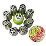 Zollyss 8pc Stainless Steel Icing Nozzles with 1 Coupler for Decorating Cupcake Pastries Desserts Tarts Pie (Set of 9) (Assorted Design)