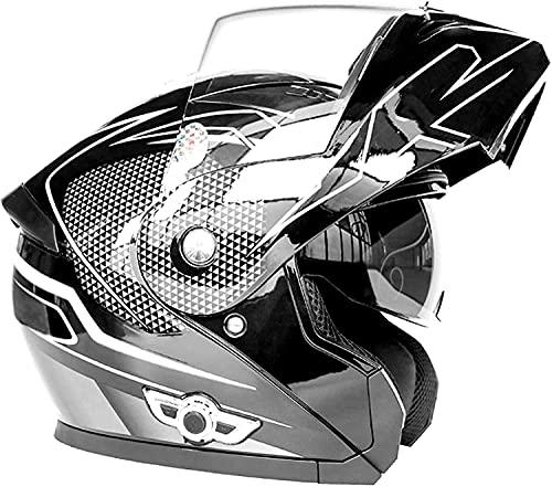LLDKA Auriculares Bluetooth Motorcycle Motorcycle Modular Bluetooth, Micrófono Integrado Auricular Micrófono Casco Integral Visor Doble Unisex (Color : B, Size : XL)
