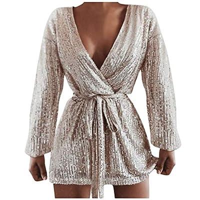 Muranba Womens Dresses Sexy Club Tie Up V Neck Glitter Sequin Evening Mini Dress Cocktail Wrap