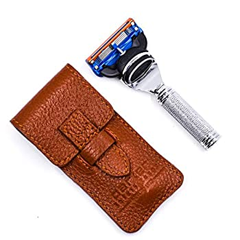 Parker Safety Razor 5 Blade Gillette Fusion Compatible Travel Razor with Luxurious Saddle Leather Case