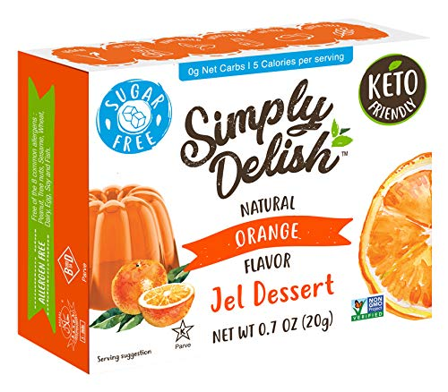 Simply Delish Natural Orange Jel Dessert - Sugar Free, Non GMO, Gluten Free, Fat Free, Lactose Free, Keto Friendly - 0.7 OZ (Pack of 6)