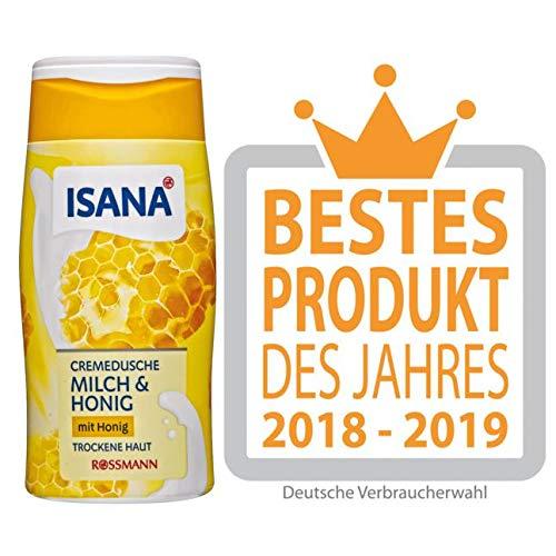 ISANA Cremedusche Milch & Honig 300 ml für trockene Haut, mit Milch- & Honig-Duft, dermatologisch bestätigt, pH-hautneutral