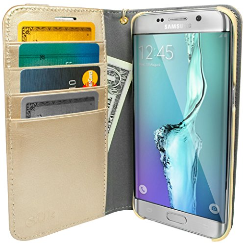 Smartish Galaxy S7 Wallet Case - Keeper of The Things - [Folio Wallet Synthetic Leather Portfolio Flip Credit Card Card Cover with Kickstand] (Silk) - Platinum Gold
