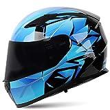 Cascos Integrado con Visera Reemplazable Casco de Moto con Doble Anti Niebla Visera, Casco de Motocicleta ECE Homologado para Adultos Hombres Mujeres 57-64CM