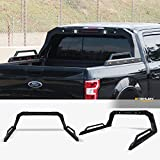 Stehlen 642167842484 Universal Adjustable Truck Bed Chase Rack Roll Bar with Side Rails Handle & 3rd Third Brake Light & 2x LED Work Lamps Bars & 14x Amber Side Marker - Textured Black