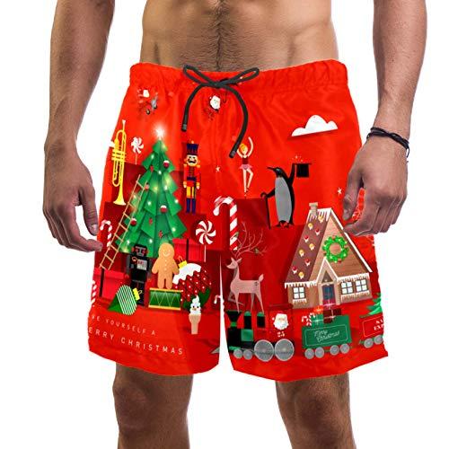 Eslifey Tren de árbol de Navidad Papá Noel Trunks Swim Trunks elástico traje de baño pantalones cortos para hombres