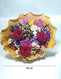 Bouquet. Ramo de Flores secas y Tres Rosas eternas Rojas. Gratis TU ENVÍO. Rosas preservadas Rojas y Flores secas. Hecho en España.