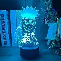 ナルトブルーナルト3D LEDナイトライトクリエイティブホームデコレーション3Dビジョン3Dビジュアル照明7色変更USB充電テーブルランプ誕生日プレゼントエンターテイメント装飾ギフト子供のおもちゃ [並行輸入品]
