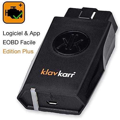 klavkarr 210 - Valise Diagnostic Auto Multimarque OBD2 Bluetooth - 100% en Français - Prise OBD Diagnostique Voiture Diesel & Essence sur iPhone/Android/Ordinateur