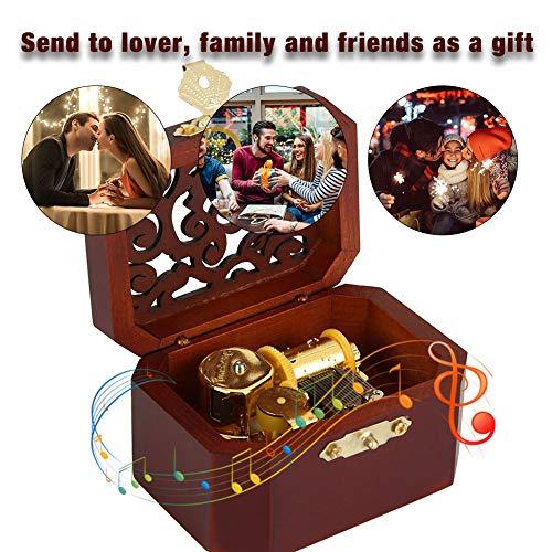 HEEPDD Retro Caja de música Musical de Cuerda grabada Caja de música Octogonal Gran Regalo para Mujeres niñas cumpleaños día de San valentín decoración para el hogar(Blanco)