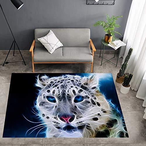ZYUN Alfombra de área de impresión Digital 3D Alfombra Antideslizante Alfombra de Estampado de Leopardo Blanco para Sala de Estar, Dormitorio, Cocina, baño,120x160cm/48x63 Inch