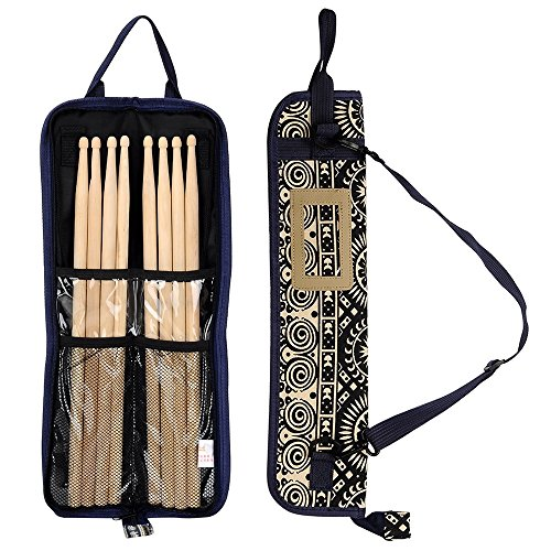 EaseIcon Exotic Style Percussion Accessories Carrying Bag Drumstick Case Cover Drum stick, Mallets, Brushes & Rods Holder with Adjustable Shoulder Strap (Sunflower)